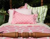 Accent Pillow - Girls Bedding - Duvet Cover Companion - Pink Polka Dot