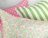 Euro Sham in Pink & Green - Girls Bedding - Duvet Cover Companion Item
