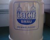Vintage Leicht Bräu beer stein from Memmelsdorf, West Germany