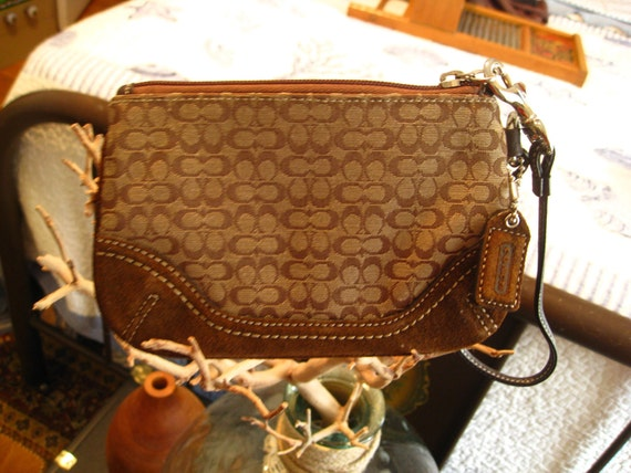 Authentic canvas and suede COACH wristlet or clutch