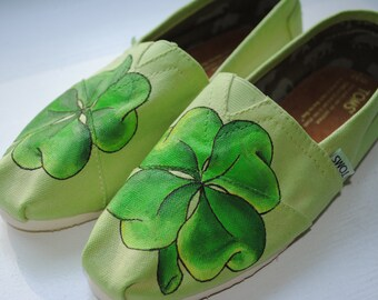 Womens Size 8.5 Ready to Ship Hand Painted Toms in a Four Leaf Clover Design