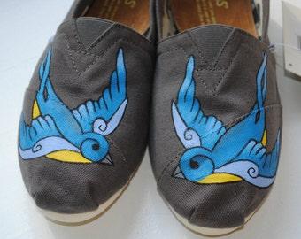 Custom Hand Painted TOMS Swallow Bird Design