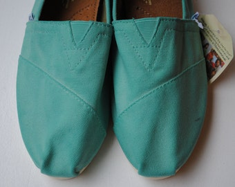 Ready to Ship - Womens Size 5 - Custom Hand Painted TOMS in Teal Blue