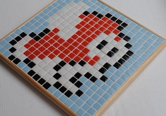 Reduced Price! Ready to Ship - Mario Brothers Cheep Cheep Recycled Glass Tile Mosaic Wall Hanging - READY TO SHIP