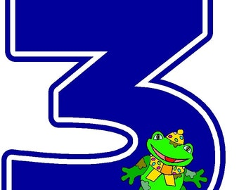 3rd birthday iron on shirt decal Number 3 frog