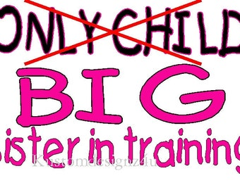 Only Child Big Sister training iron-on shirt decal NEW by kustomdesignzbyk