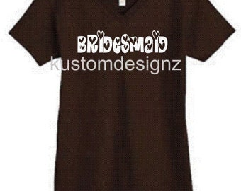 wedding Bridesmaid iron-on shirt decal transfer