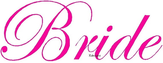 Wedding Bride iron-on shirt decal transfer NEW by kustomdesignzbyk