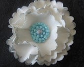 Modern Frill Ruffle 1.5inch Flower with Medallion Antique Button Center 100% edible Cupcake & Cake Fondant Toppers