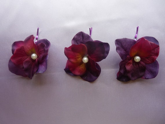 Set of 3 eggplant, purple hydrangeas with pearls, hair pins, great for wedding