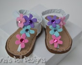 Doll shoes for American Girl -- Colorful flower sandals