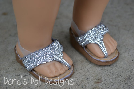 Doll shoes for American Girl -- Silver wedge heel sandals with sparkly bead trim