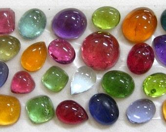 Multi Gemstone Cabochon Bracelet Set, loose cabochons, loose gemstones