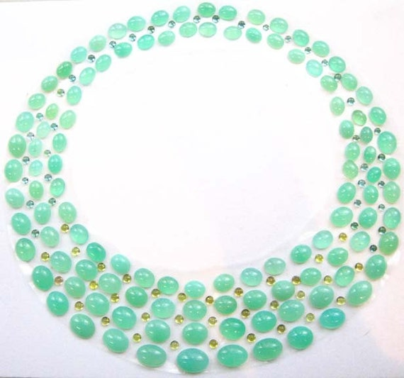 Chrysoprase Mint Green and Yellow Tourmaline Cabochon Bib Necklace Set - 300 CARATS - Collar Stand Out Necklace