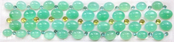 Chrysoprase Mint Green Oval Cabochon Bracelet w/ yellow and green tourmaline - 143 CARATS - Summer chic Bracelet