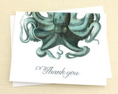 Octopus Thank You Notes, Set of 8 Octopus Cards