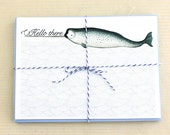 Hello Narwhal Notecards, Nautical Flat Cards Set of 8
