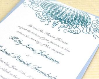 Boho Beach Wedding Invitations, Offbeat Wedding Invites, Beach Wedding Invite, Nautical Wedding Invitation, Jellyfish Wedding, Set, Suite
