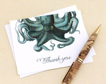 SALE Octopus Gift, Thank You Card Set of 8, Nautical Thank You Cards, Beach Thank You Card, Octopus Thank You Notes, Gift Under 10