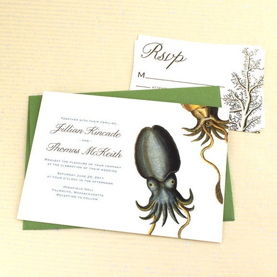 Cuttlefish Wedding Invitation, Aquarium Wedding Invitation, Ocean Wedding Invitation