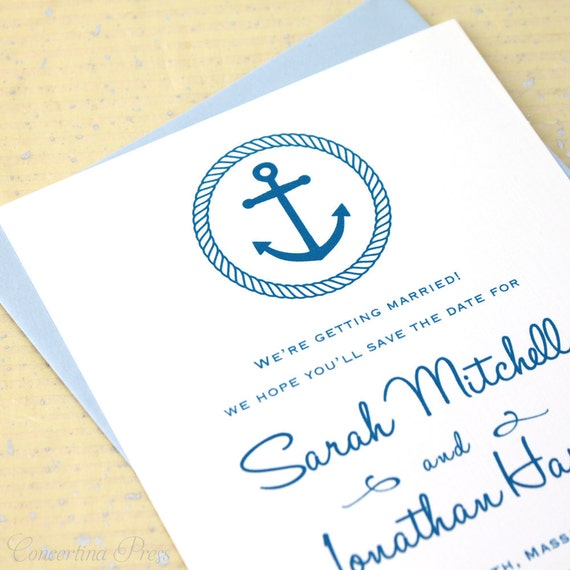 Anchor Save the Date, Beach Wedding Save the Date, Beach Save the Dates, Nautical Save the Dates, Aquarium Save the Date Cards