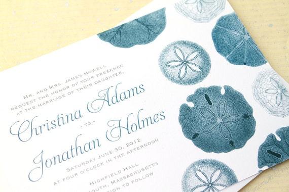 Beach Wedding Invitation Wording: Sand Dollar Beach Wedding Invitation Sample In Blue And