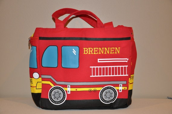 LAST ONE 25% off SALE Personalized Embroidered Fireman School / Book Bag or  Overnight /  Tote Bag