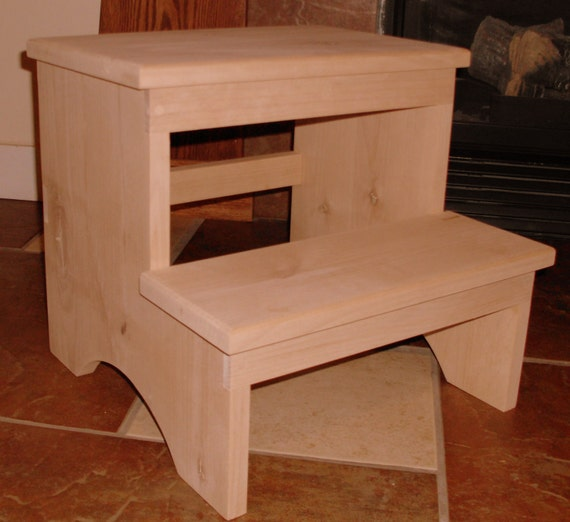 New Wooden Alder Shaker Inspired Step Stool Unfinished