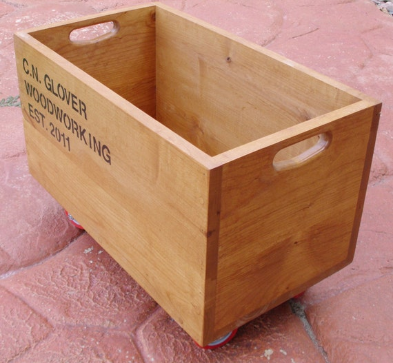 Custom Knotty Alder Rolling Storage Crate for Will