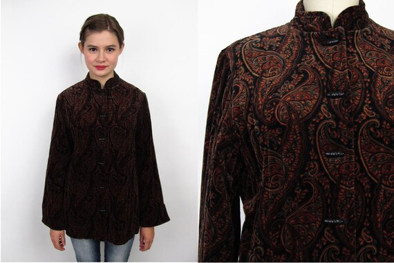 Vintage 1970s Jacket / Paisley Velvet Jacket / Toggle Jacket