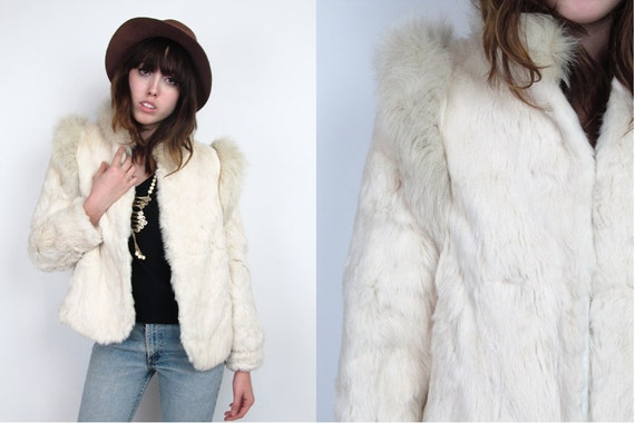 Vintage 70s Coat / Fur Coat / Tusk Rabbit Fur Coat