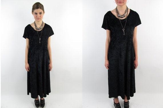 Vintage 90s Dress - 90s Maxi Dress - Black Crush Velvet Dress
