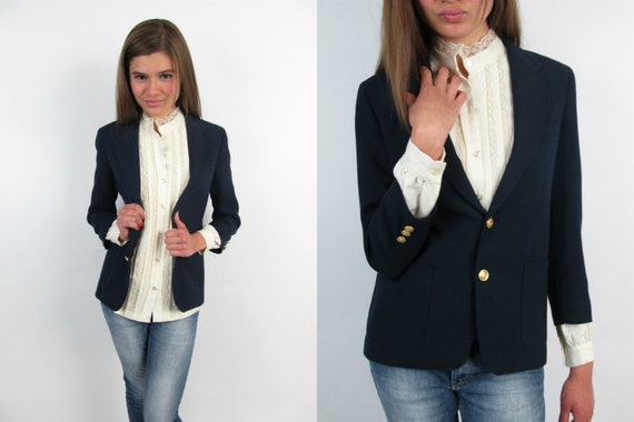 Vintage 80s Blazer / Fitted Navy Blazer / Nautical Blazer
