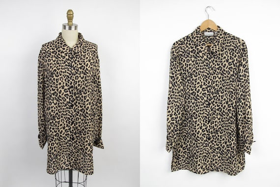 Vintage 90s Blouse / Over-sized Button Up Top / Cheetah Print Top