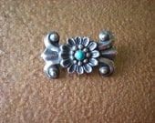 Silver and Turquoise Brooch Southwestern Style