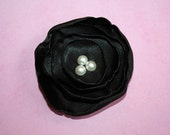 Black and Pearl Satin Lollipop Flower