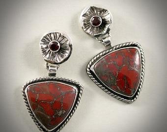 Dahlia - Red Brecciated Jasper Triangle Earrings with Garnet