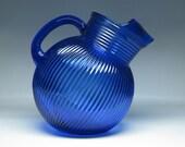 vintage HAZEL ATLAS cobalt blue glass tilt ball pitcher art deco