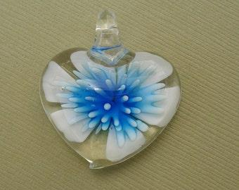 Murano Lampwork Glass Pendant, Heart Flower , Best Price.