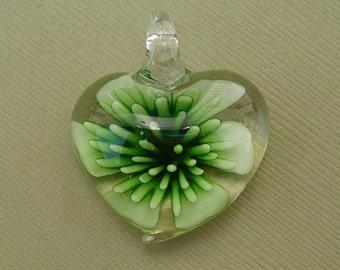 Murano  Pendant, Heart Flower , LampworkBest Price.