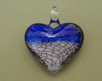 Murano Lampwork Glass, Pendant, Heart, (40x38x15)mm.