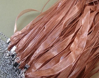 "Organza Silk Ribbon Necklace 18""-10pcs."