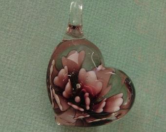 Blown Glass Pendant Inner Flower, Lampwork Glass Pendant, Heart, (45x30x20)mm.