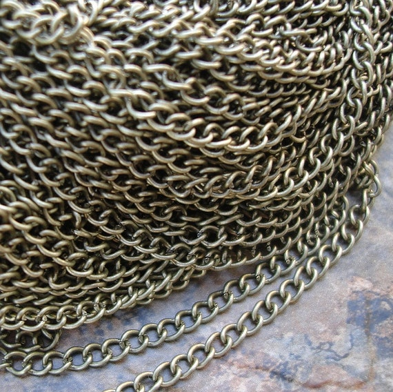 15ft Spool-Antique Bronze Over Brass Twist Chain Link 2.5x3.5x0.6mm.