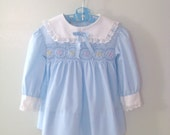 1960's Sky Blue and White Hand Smocked Long Sleeve Dress