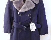 1930's Navy Blue Gabardine Coat with Faux Fur Trim - BabyTweeds