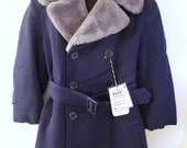 1930's Navy Blue Gabardine Coat with Faux Fur Trim