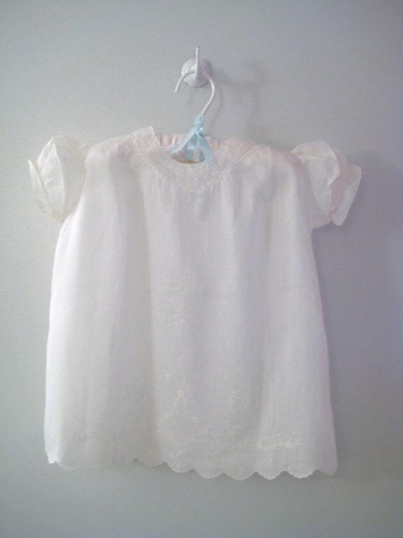 1930's Handmade White Embroidered Christening Gown