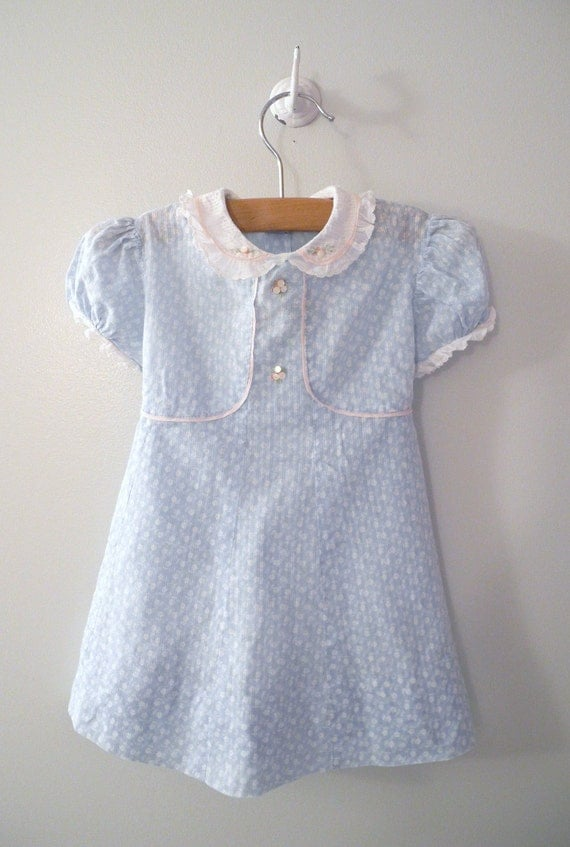 """1940's Handmade Blue, Pink and White """"Button Flower"""" Dress"""