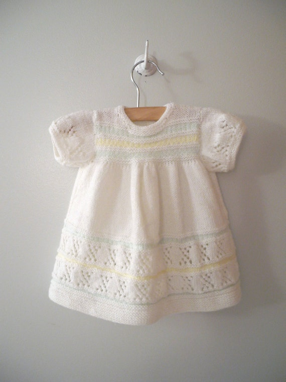 1970's Hand Knitted Ivory, Mint Green and Soft Yellow Sweater Dress